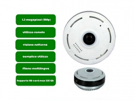MINI VIDEOCAMERA UFO IP P2P WiFi INTERCOMUNICANTE INFRAROSSI FISH EYE